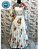 cream printed maslin cotton long gown