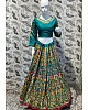 deep green thai silk heavy embroidered wedding lehenga