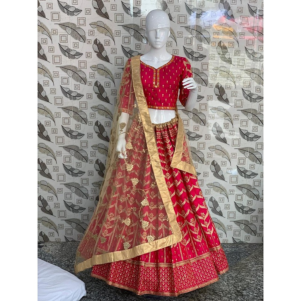 lotus pink petan silk designer embroidered wedding lehenga