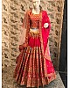 pink dola silk designer heavy embroidered bridal wedding lehenga