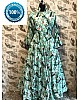 pista green printed long kurti