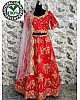 Red ruby silk designer heavy embroidered bridal wedding lehenga