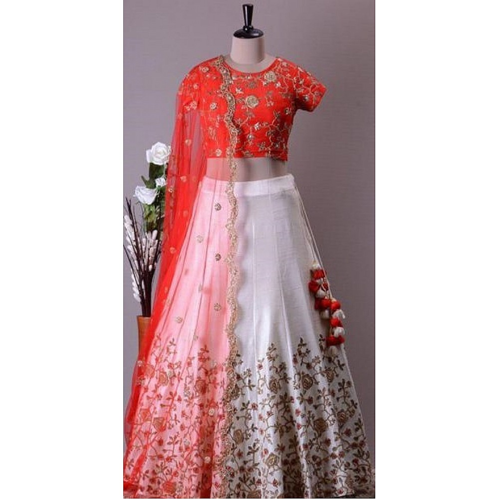white zill mill silk beautiful heavy embroidered ceremonial lehenga