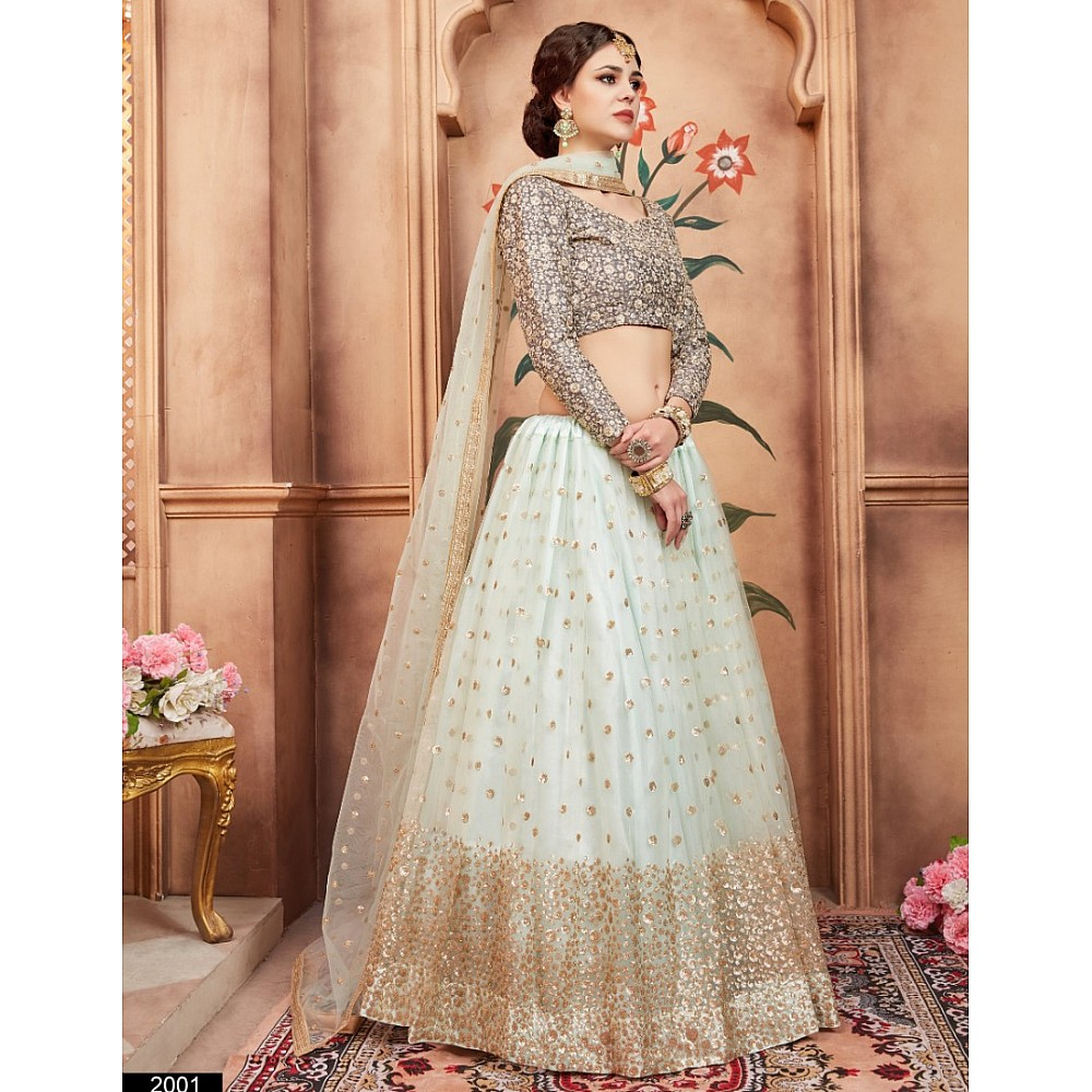 sea green art silk sequence and threadworked wedding lehenga