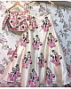 cream art silk pink floral embroidered ceremonial lehenga