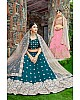 dark green art silk embroidered wedding lehenga