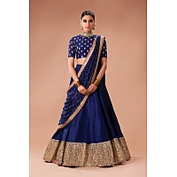 Designer embroidered blue wedding lehenga