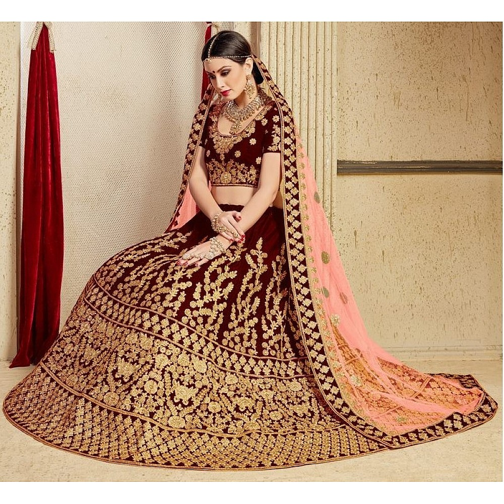 Maroon pure velvet designer heavy embroidered bridal lehenga