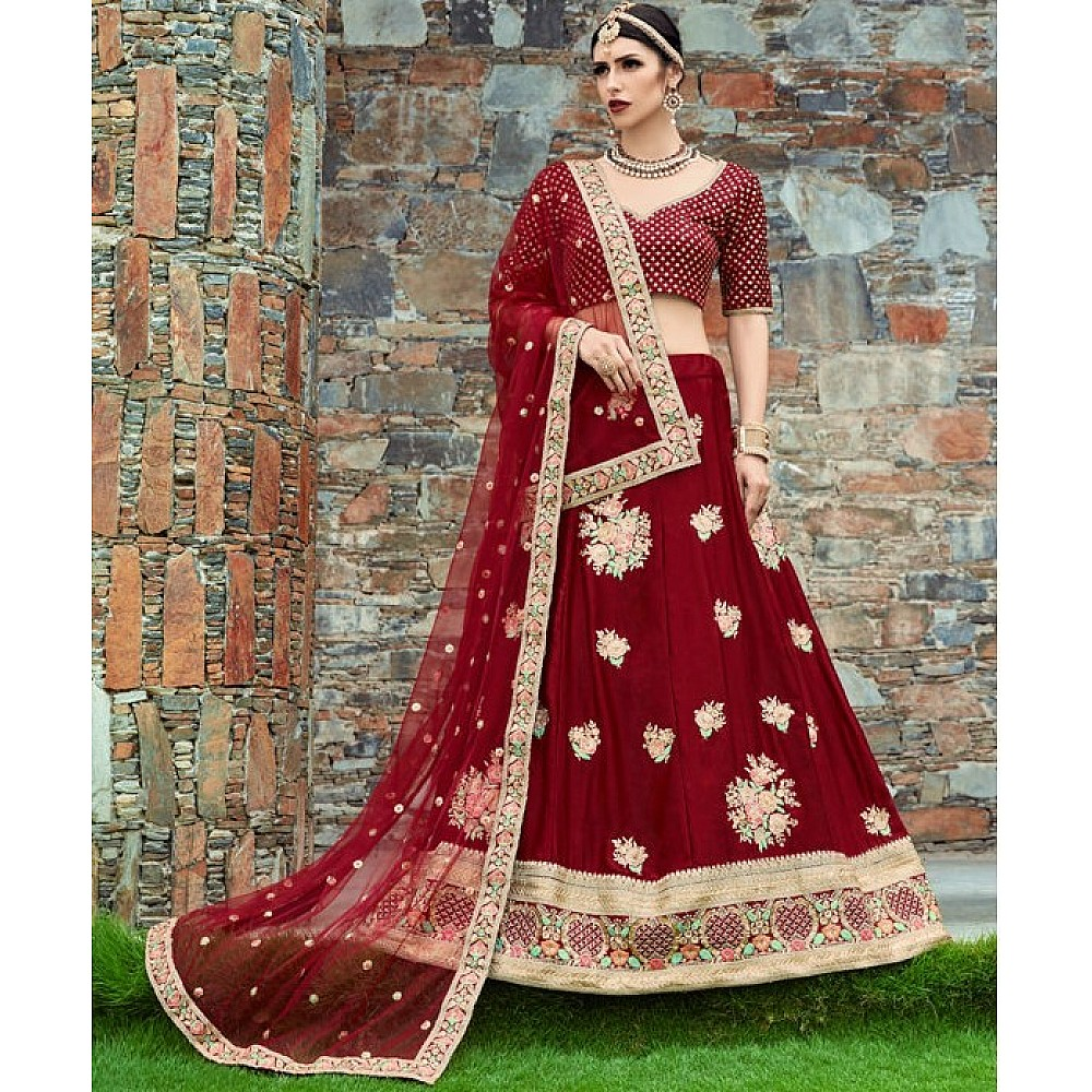 maroon velvet silk heavy embroidered bridal lehenga