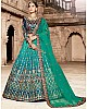 multiclored pure satin heavy embroidered designer bridal lehenga