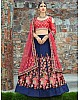 navy blue malbari silk multicolor thread worked heavy wedding lehenga
