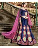 Navy blue pure satin heavy embroidered designer wedding lehengha