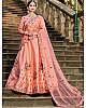 Peach pure satin resham embroidered wedding lehenga