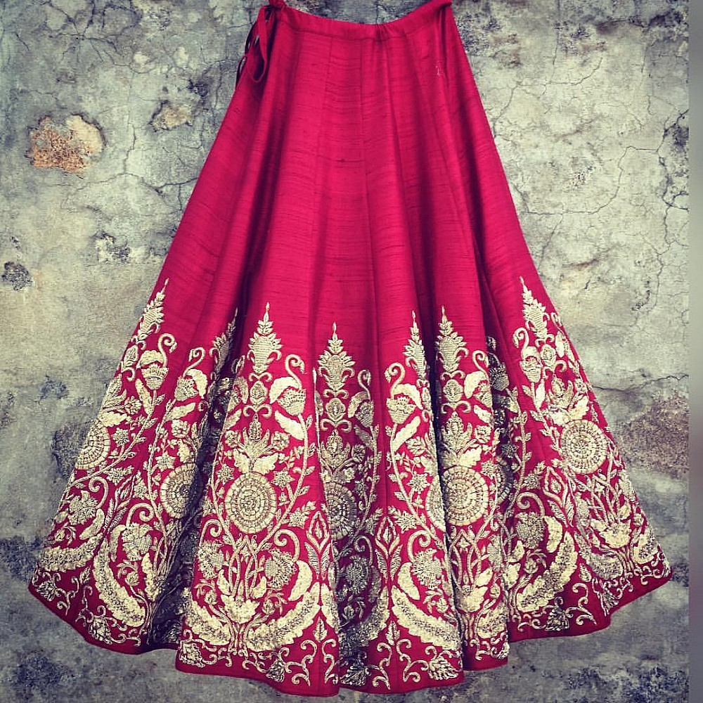Red art silk embroidered wedding lehenga