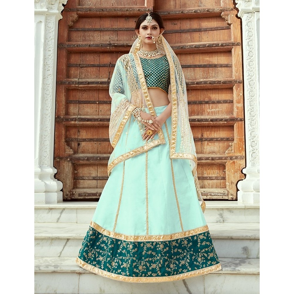 sea green art silk embroidered wedding lehenga