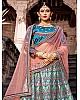 sea green pure satin designer embroidered Bridal lehenga choli