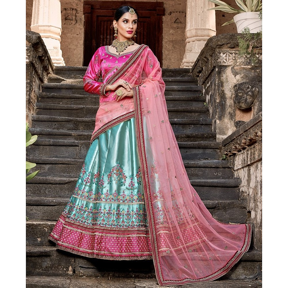 sky blue pure satin designer embroidered wedding lehenga choli