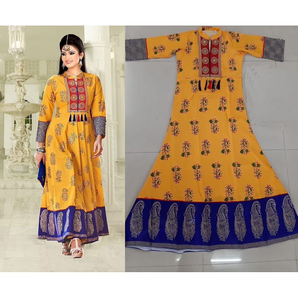 arya yellow crap printed kurti