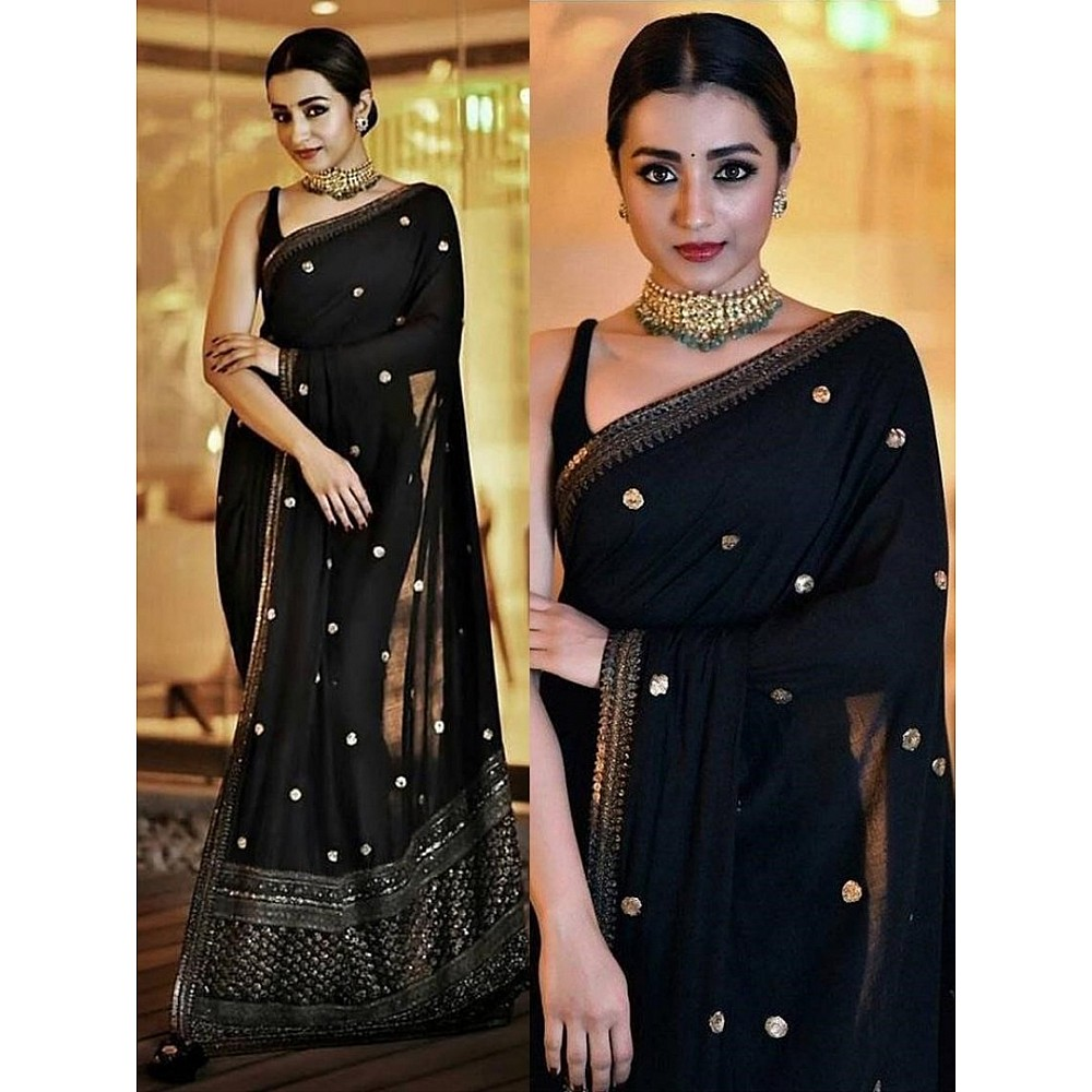 Black georgette fancy sequence worked partywear saree