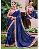 Blue paper silk fancy embroidered wedding saree