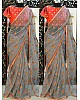 grey silver chiffon multi color threadwork festival wear saree