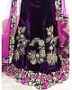 dark purple velvet heavy embroidered designer wedding lehenga