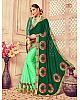 green rangoli silk heavy embroidered designer wedding saree