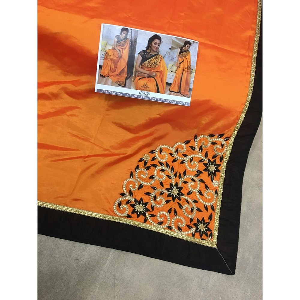 orange paper silk beautiful embroidered partywear saree
