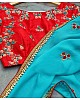 sky blue georgette embroidered festival wear saree
