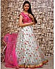 white tissue net multi thread embroidered work wedding lehenga choli