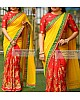 yellow and red georgette silk embroidered half half saree