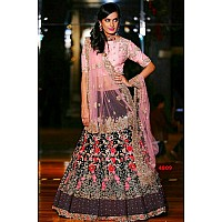 Black velvet heavy embroidered bridal lehenga