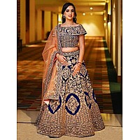 blue heavy banglori satin silk heavy embroidered bridal lehenga