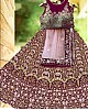 Maroon heavy bangalori satin silk designer heavy embroidered bridal lehenga