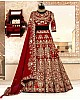 maroon kerela satin heavy embroidered designer wedding bridal lehenga