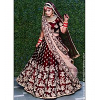 Maroon velvet heavy embroidered bridal lehenga