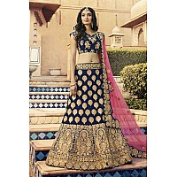 navy blue satin silk heavy coding embroidered wedding lehenga