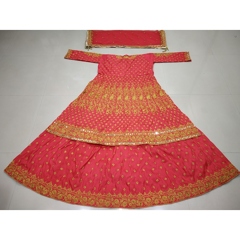 red milano silk embroidered bridal lacha with jacket