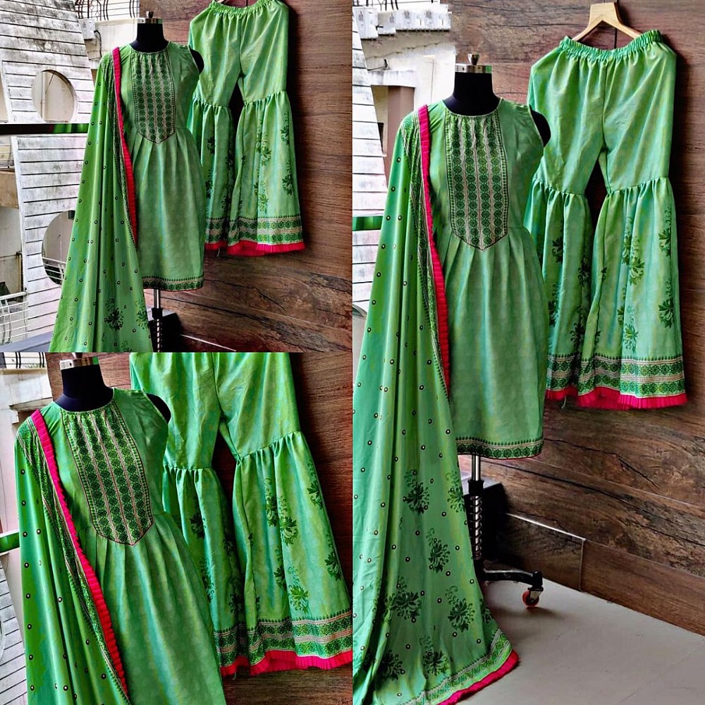 Neon green printed sharara salwar suit