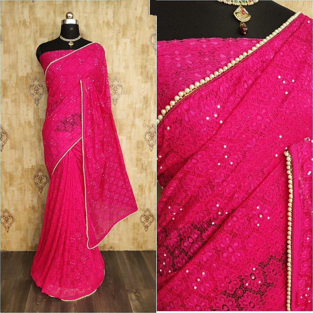 Pink chantley net pearl work partywear saree