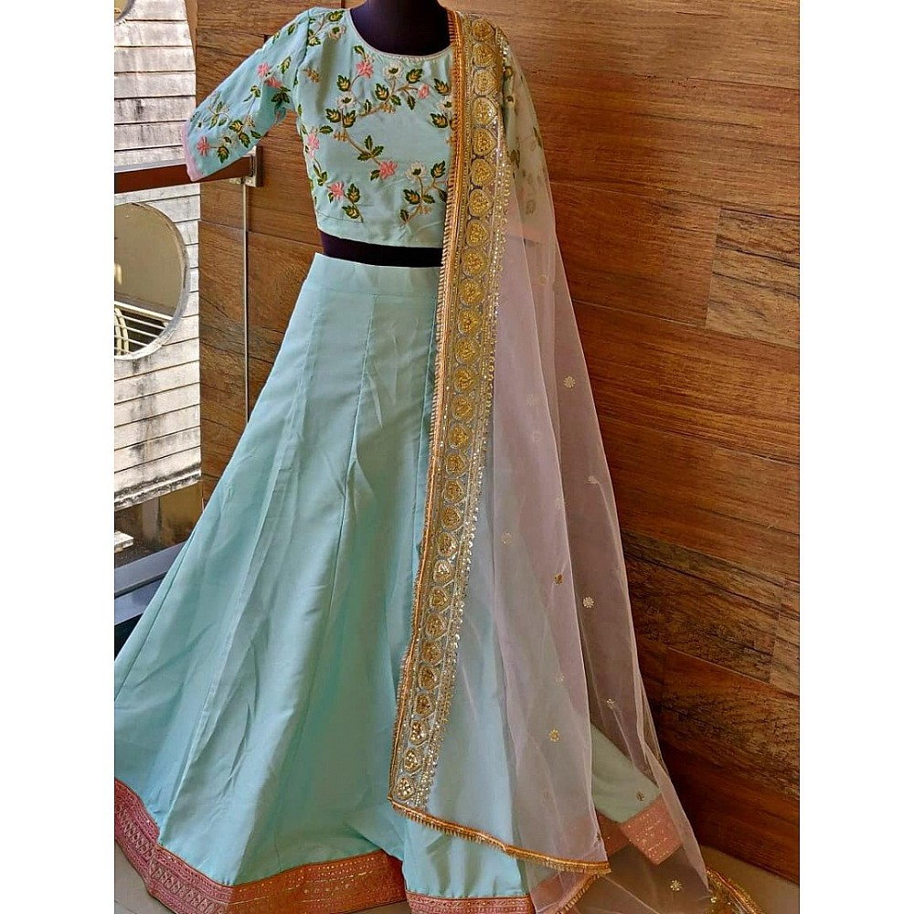 Sea green beautiful worked lehenga choli for ceremony