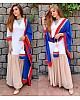 White and beige kurti with blue dupatta