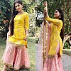 yellow and baby pink beautiful embroidered sharara salwar suit