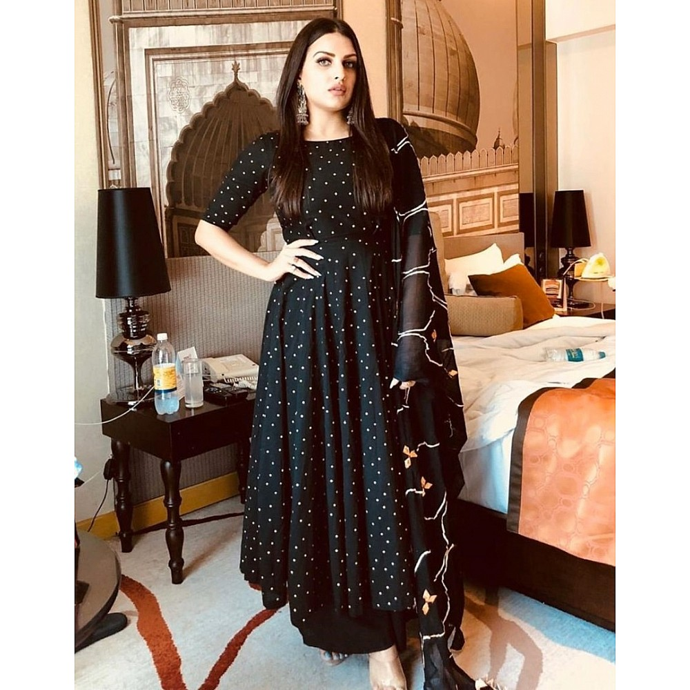 Black georgette printed anarkali suit with embroidered dupatta