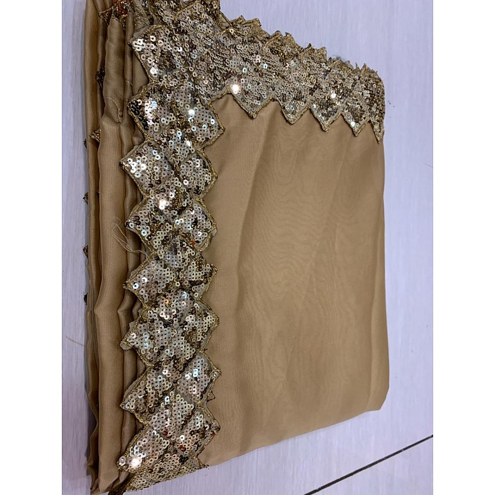 Brown chinon silk sequence work border indowestern saree