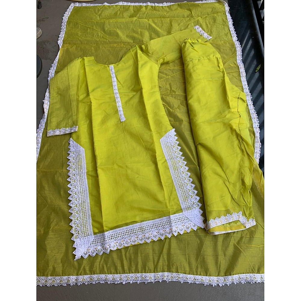 Greenish yellow chanderi cotton salwar suit