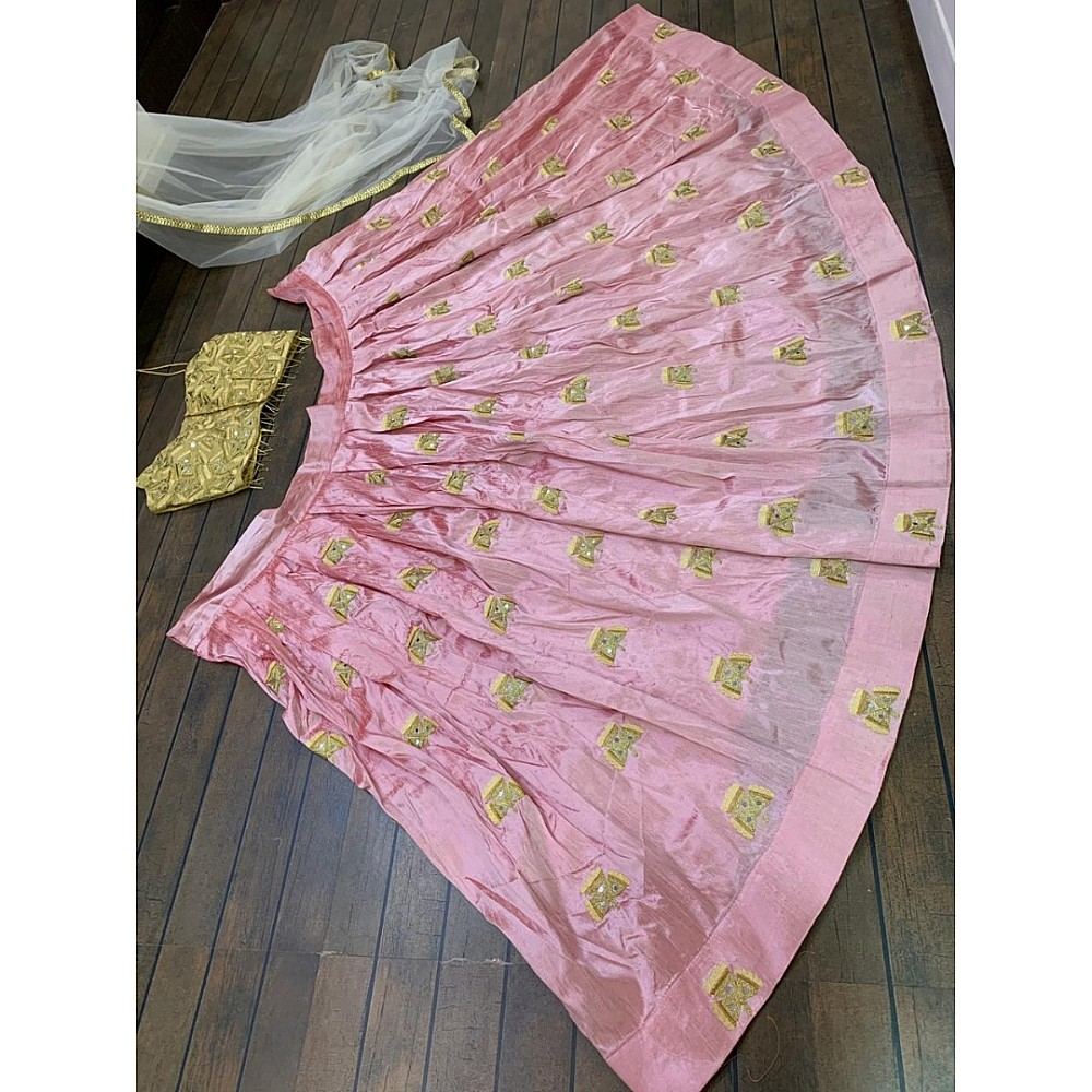 Mulbari silk multi dori worked crop top lehenga
