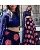 Navy blue velvet designer embroidered partywear lehenga choli