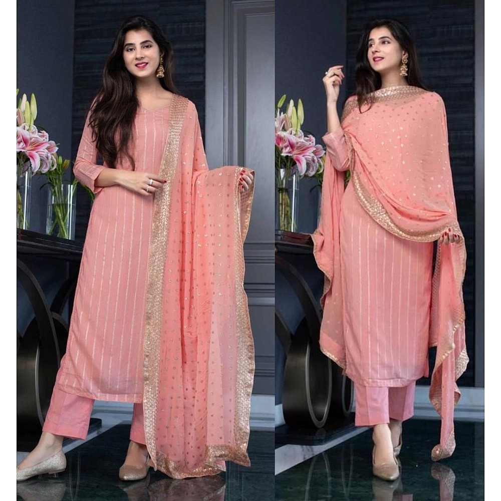 Peach georgette sequence work salwar suit