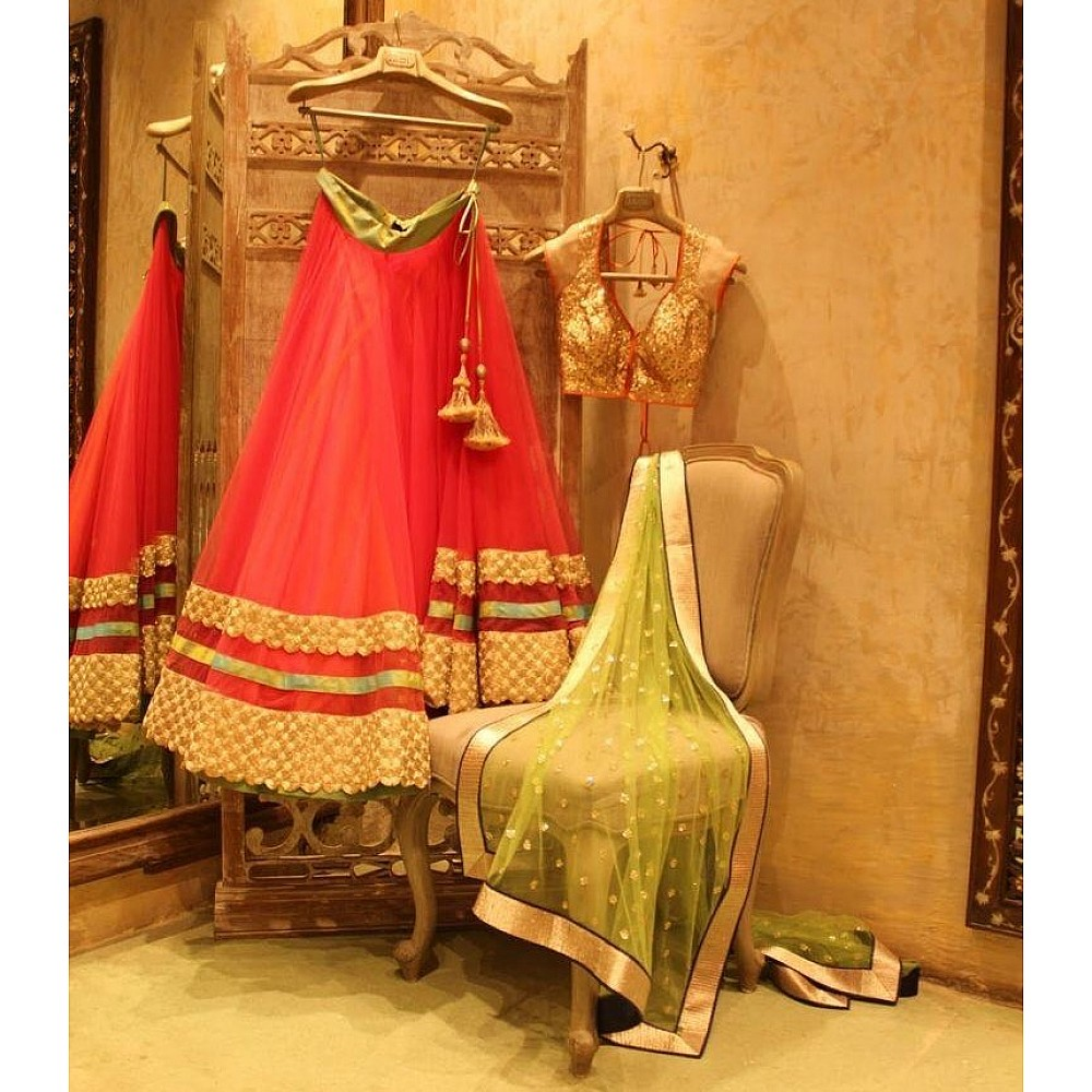 Red net partywear lehenga choli
